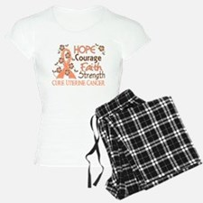 Hope Courage Faith Uterine Cancer Shirts Pajamas