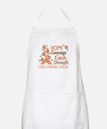 Hope Courage Faith Uterine Cancer Shirts Apron