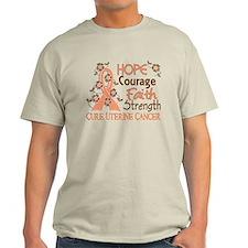 Hope Courage Faith Uterine Cancer Shirts T-Shirt