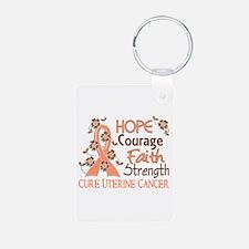 Hope Courage Faith Uterine Cancer Shirts Keychains