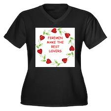 fireman Women's Plus Size V-Neck Dark T-Shirt