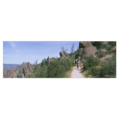 Hikers on a trail, Condor Trail, Pinnacles State P Poster