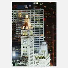 Buildings lit up at night, Wrigley Building, Chica