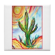 Saguaro Cactus, art Tile Coaster