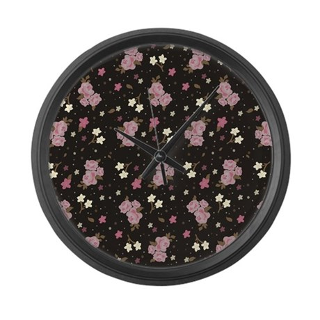 Pink roses on dark background Large Wall Clock