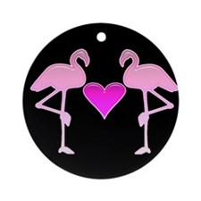 2 Flamingos with Heart Ornament (Round)