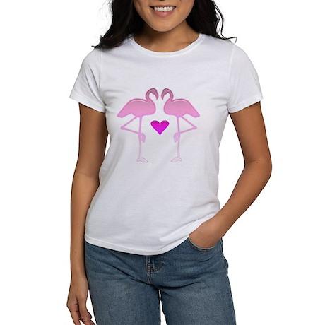 2 Flamingos with Heart Women's T-Shirt