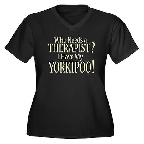 THERAPIST Yorkipoo Women's Plus Size V-Neck Dark T