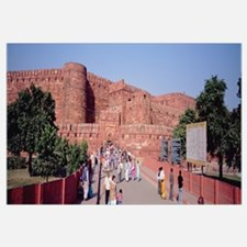 Tourists outside a fort, Agra Fort, Agra, Uttar Pr