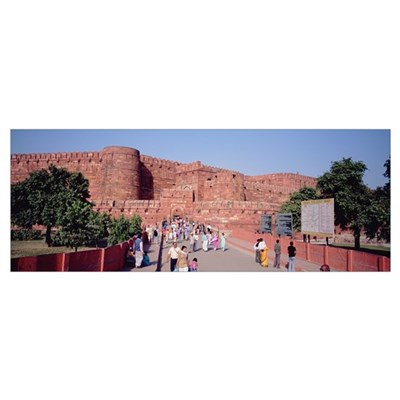 Tourists outside a fort, Agra Fort, Agra, Uttar Pr Poster