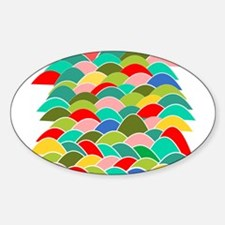 Colorful Fish Scale Pattern Sticker (Oval)