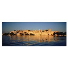 Buildings on the waterfront, Udaipur, Rajasthan, I Poster