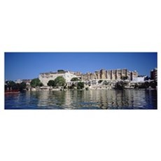 Hotels on the waterfront, Udaipur City Palace, Fat Poster
