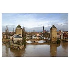 Bridge over a river, Ill River, Alsace, Strasbourg Poster