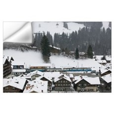 Ski train at a station, Gstaad Station, Berne, Swi Wall Decal