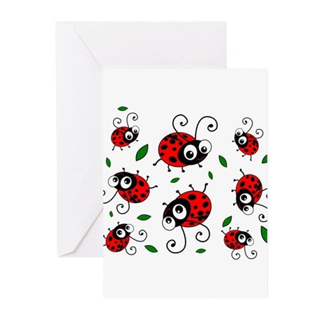 Cute Ladybug pattern Greeting Cards (Pk of 10)