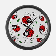 Cute Ladybug pattern Large Wall Clock