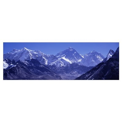 Snow on mountains, Goyko Valley, Mt Everest, Khumb Poster
