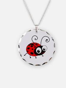 Cute Ladybug Necklace Circle Charm