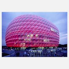 Soccer Stadium Lit Up At Dusk, Allianz Arena, Muni