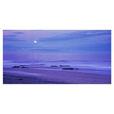 Moon shining over the sea, Snaefellsnes, Borgarfjo Poster