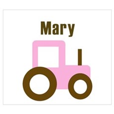 Mary - Pink/Brown Tractor Wall Art Poster