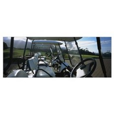 Golf carts in a row, Santo da Serra Course, Santo  Canvas Art