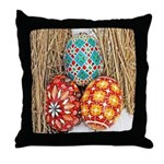 Pysanky in Snow Throw Pillow