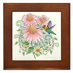 Coneflower Hummingbird Framed Tile