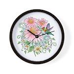 Coneflower Hummingbird Wall Clock