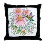 Coneflower Hummingbird Throw Pillow