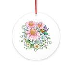 Coneflower Hummingbird Ornament (Round)