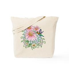 Coneflower Hummingbird Tote Bag