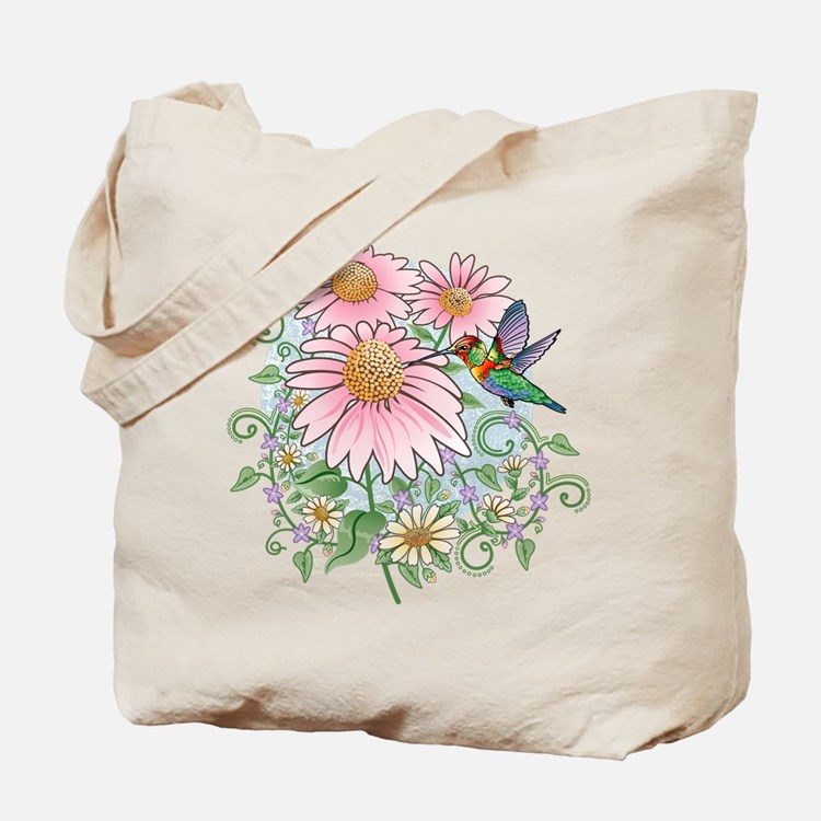 Coneflower Hummingbird Tote Bag