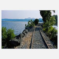 Railroad Track Along A River, Hudson River, Kingst
