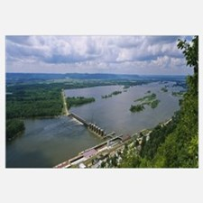 Aerial View Of Lock and Dam # 4 Over Mississippi R