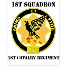 DUI - 1st Sqdrn - 1st Cav Regt with Text Mini Post Framed Print