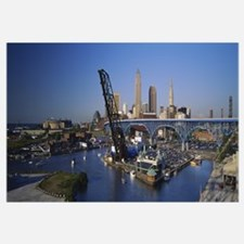 High angle view of boats in a river, Cleveland, Oh