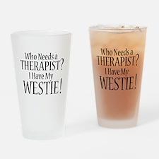 THERAPIST Westie Drinking Glass