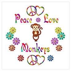 Peace Love Monkeys Wall Art Poster