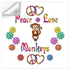 Peace Love Monkeys Wall Art Wall Decal