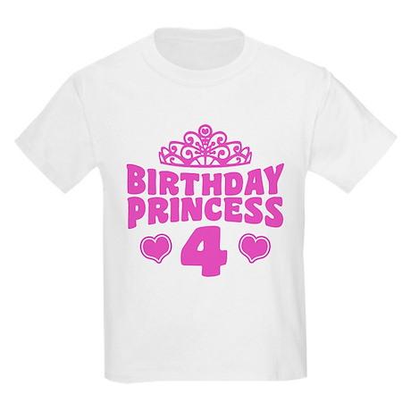 4th Birthday Princess Kids Light T-Shirt