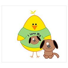 Dog Loving Chick Wall Art Poster