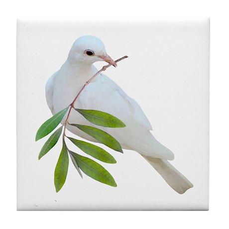 Dove Olive Branch Tile Coaster