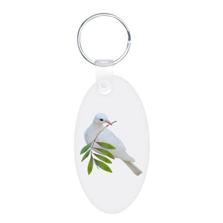 Dove Olive Branch Aluminum Oval Keychain