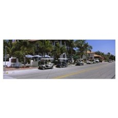 Golf carts and cars parked on a street, Boca Grand Poster