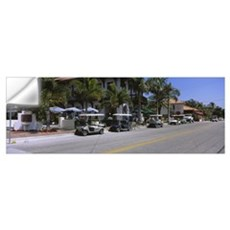 Golf carts and cars parked on a street, Boca Grand Wall Decal