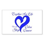 Stop Colon Cancer Sticker (Rectangle 50 pk)