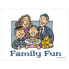 Family Fun Hanukkah Wall Art Poster