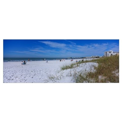 Tourists on the beach, Crescent Beach, Gulf Of Mex Poster